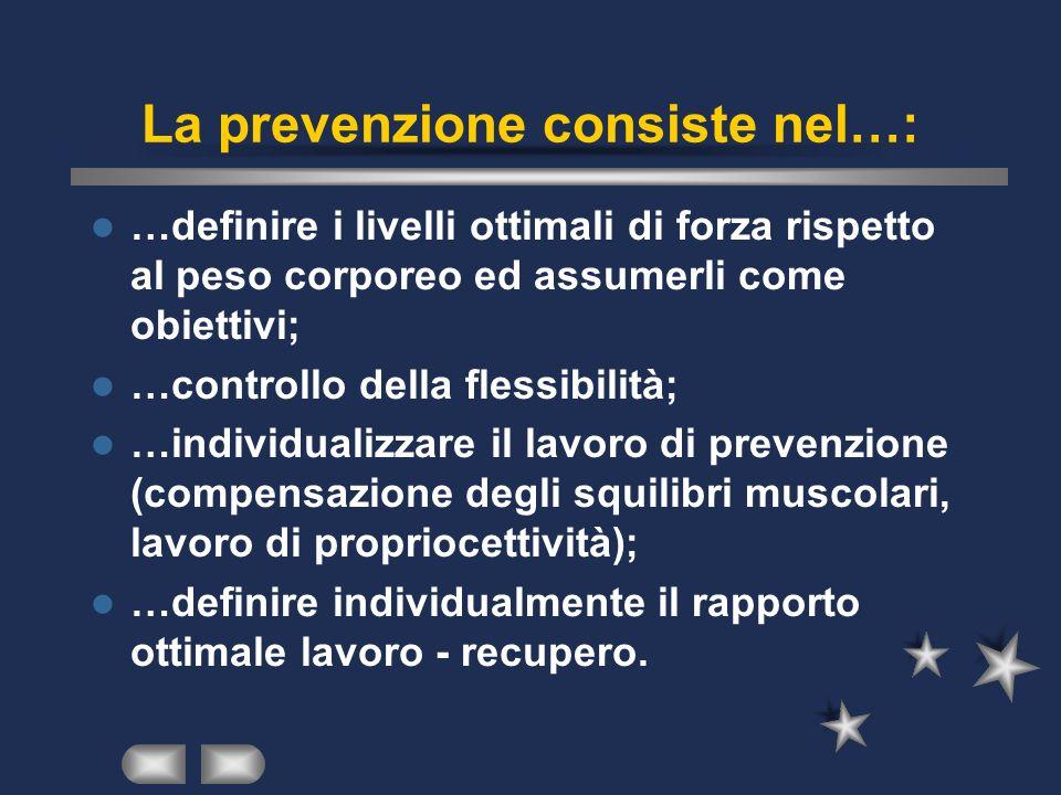La prevenzione consiste nel…: …definire i livelli ottimali di forza rispetto al peso corporeo ed assumerli come obiettivi; …controllo della flessibili