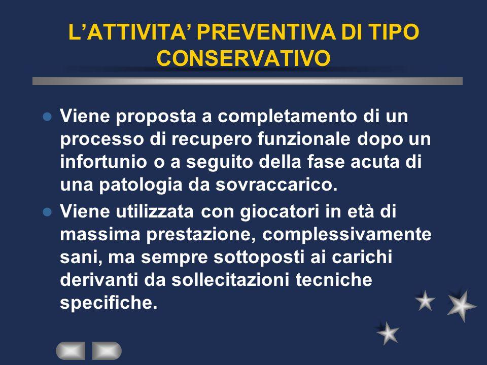 LATTIVITA PREVENTIVA DI TIPO CONSERVATIVO Viene proposta a completamento di un processo di recupero funzionale dopo un infortunio o a seguito della fa