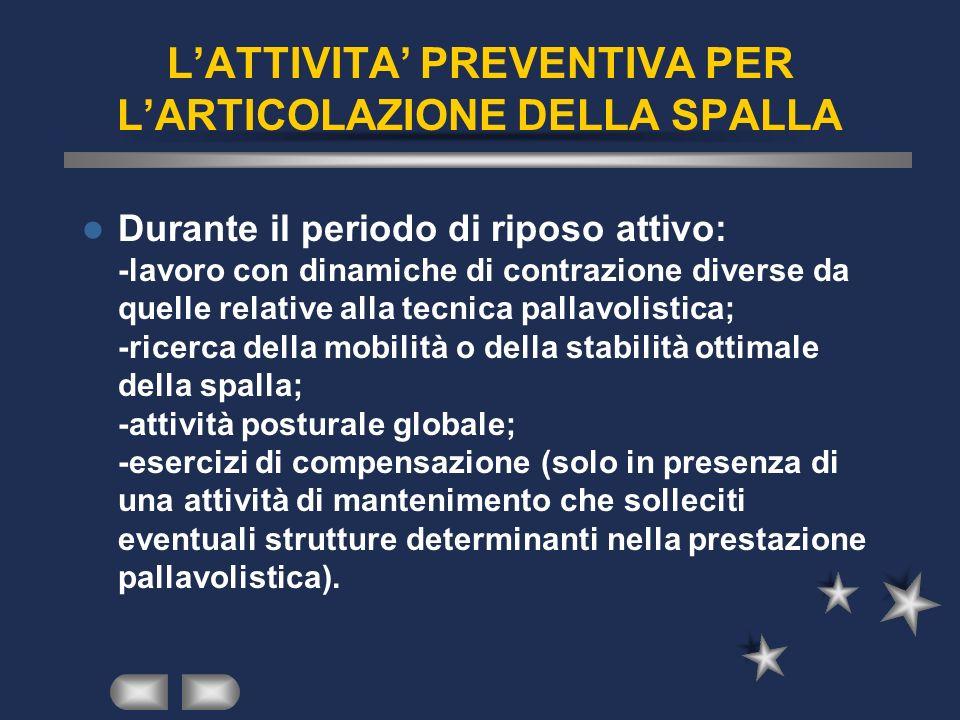LATTIVITA PREVENTIVA PER LARTICOLAZIONE DELLA SPALLA Durante il periodo di riposo attivo: -lavoro con dinamiche di contrazione diverse da quelle relat
