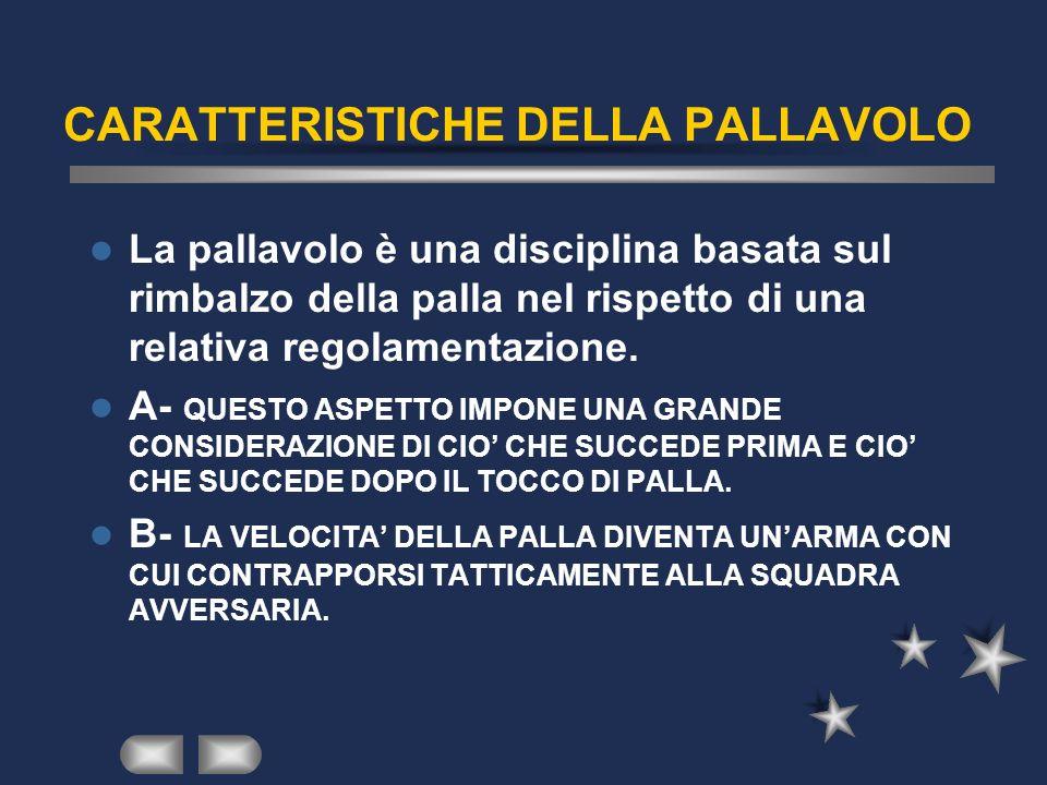 CARATTERISTICHE DELLA PALLAVOLO La pallavolo è una disciplina basata sul rimbalzo della palla nel rispetto di una relativa regolamentazione. A- QUESTO
