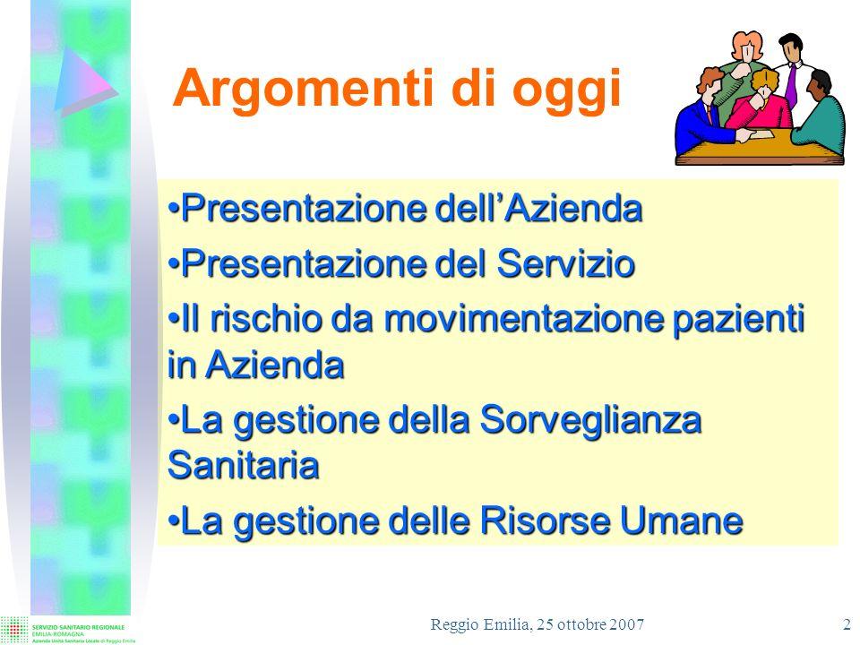 Reggio Emilia, 25 ottobre 2007 3 LAzienda USL di Reggio Emilia Provincia 460.000 Residenti Territorio 6 Distretti 9 Dipartimenti 1 Dipartimento Amministrativo Presidio ospedaliero 5 Ospedali 12 Dipartimenti Azienda 3.800 Dipendenti 650 M Bilancio