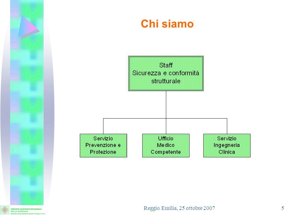 Reggio Emilia, 25 ottobre 2007 6 Mission Lo Staff trova la sua ragione dessere nella ricerca e raggiungimento degli obiettivi di sicurezza per lUtenza, i Dipendenti, lAmbiente e lOrganizzazione, definiti dalla normativa applicabile, ed in particolare : Sicurezza sul lavoro – D.Lgs.
