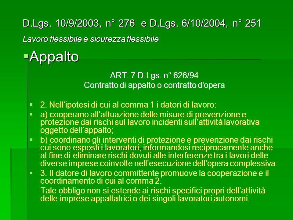 ART.7 D.Lgs. n° 626/94 Contratto di appalto o contratto d opera 2.