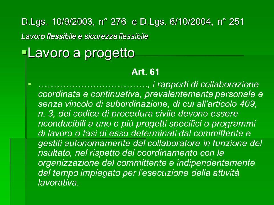 Art. 61 ………………………………, i rapporti di collaborazione coordinata e continuativa, prevalentemente personale e senza vincolo di subordinazione, di cui all'