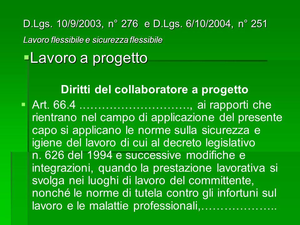 Diritti del collaboratore a progetto Art.
