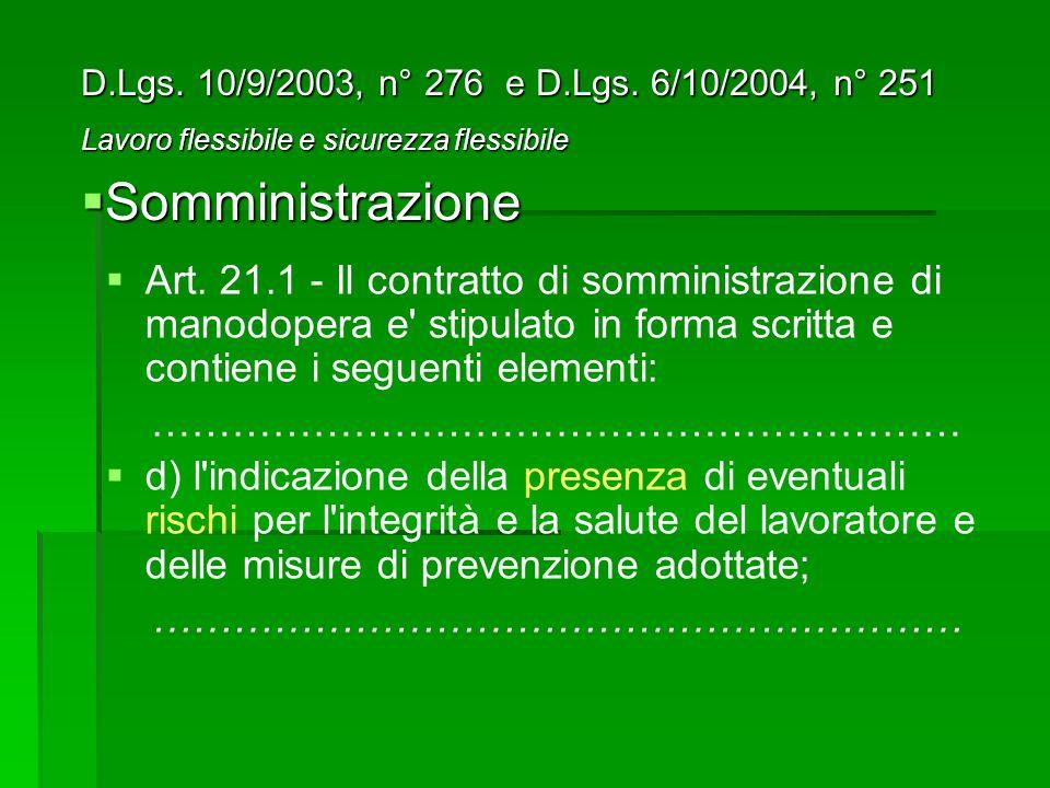 Art. 21.1 - Il contratto di somministrazione di manodopera e' stipulato in forma scritta e contiene i seguenti elementi: …………………………………………………… d) l'ind