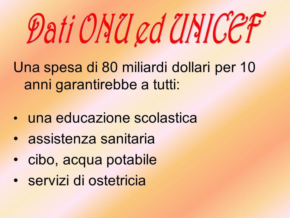 Una spesa di 80 miliardi dollari per 10 anni garantirebbe a tutti: una educazione scolastica assistenza sanitaria cibo, acqua potabile servizi di oste