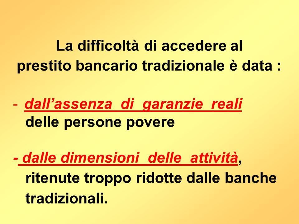 La difficoltà di accedere al prestito bancario tradizionale è data : -dallassenza di garanzie reali delle persone povere - dalle dimensioni delle atti