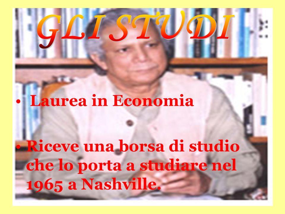 Laurea in Economia Riceve una borsa di studio che lo porta a studiare nel 1965 a Nashville.