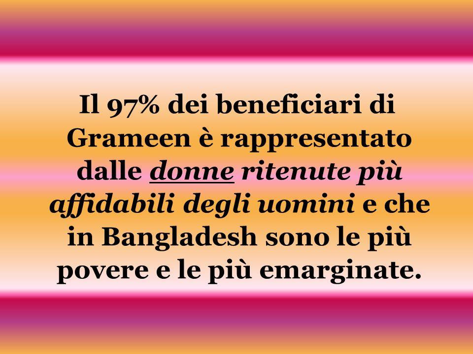 Il 97% dei beneficiari di Grameen è rappresentato dalle donne ritenute più affidabili degli uomini e che in Bangladesh sono le più povere e le più ema