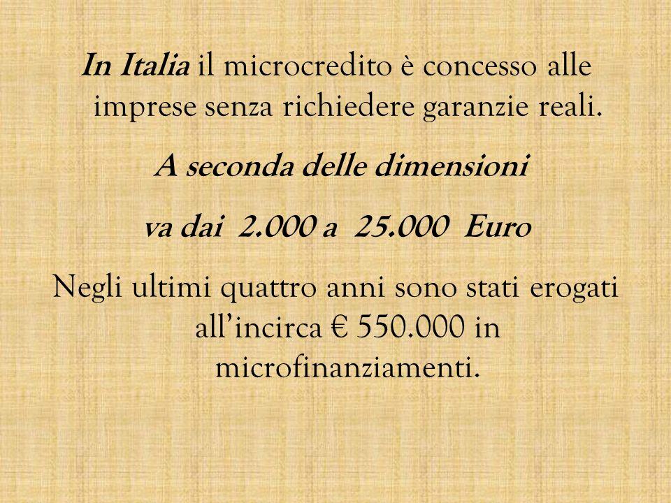 In Italia il microcredito è concesso alle imprese senza richiedere garanzie reali. A seconda delle dimensioni va dai 2.000 a 25.000 Euro Negli ultimi