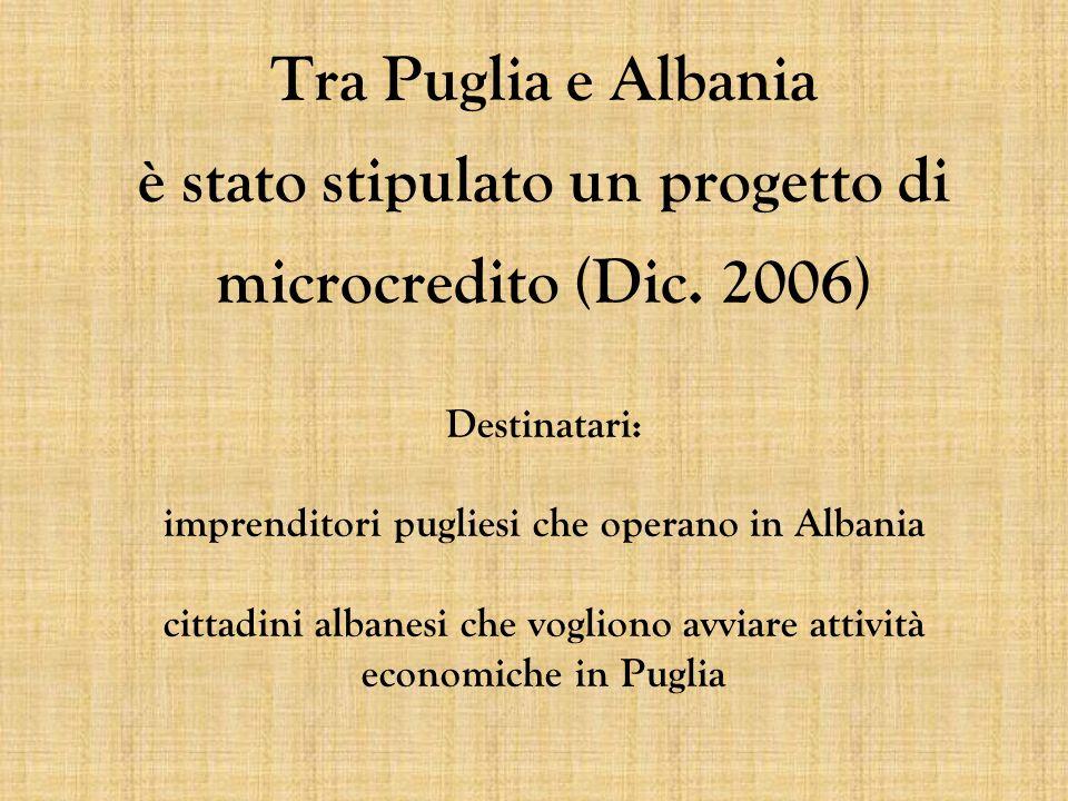 Tra Puglia e Albania è stato stipulato un progetto di microcredito (Dic. 2006) Destinatari: imprenditori pugliesi che operano in Albania cittadini alb