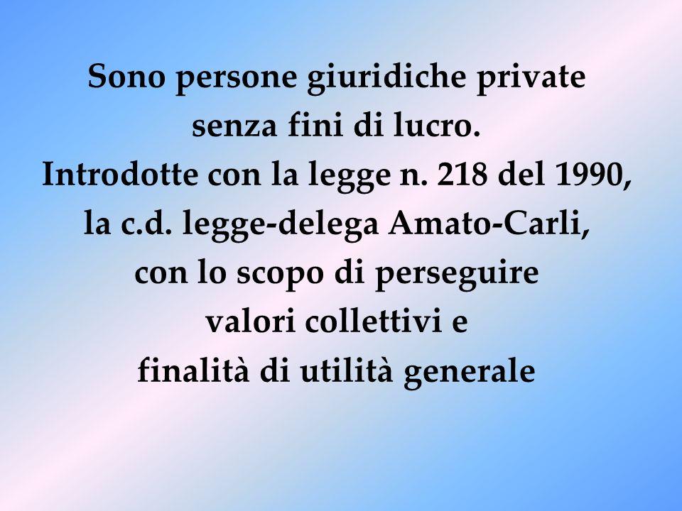 Sono persone giuridiche private senza fini di lucro. Introdotte con la legge n. 218 del 1990, la c.d. legge-delega Amato-Carli, con lo scopo di perseg