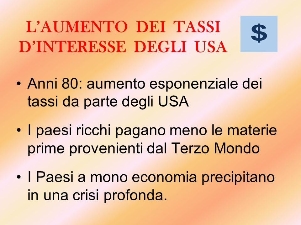 LAUMENTO DEI TASSI DINTERESSE DEGLI USA Anni 80: aumento esponenziale dei tassi da parte degli USA I paesi ricchi pagano meno le materie prime proveni