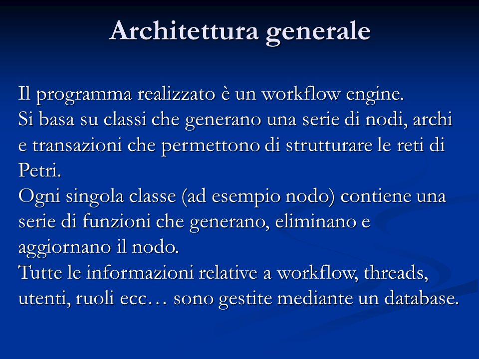 Architettura generale Il programma realizzato è un workflow engine.