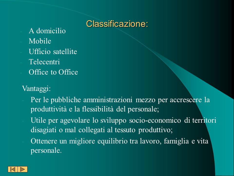 Classificazione: - A domicilio - Mobile - Ufficio satellite - Telecentri - Office to Office Vantaggi: - Per le pubbliche amministrazioni mezzo per acc