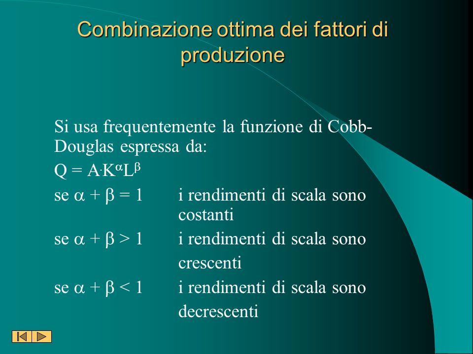 Combinazione ottima dei fattori di produzione Si usa frequentemente la funzione di Cobb- Douglas espressa da: Q = A. K L se + = 1i rendimenti di scala