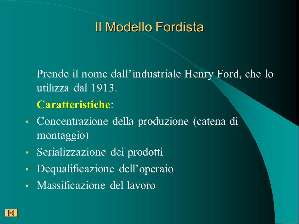 Il Modello Fordista Prende il nome dallindustriale Henry Ford, che lo utilizza dal 1913. Caratteristiche: Concentrazione della produzione (catena di m