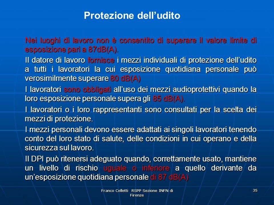 Franco Celletti RSPP Sezione INFN di Firenze 35 Nei luoghi di lavoro non è consentito di superare il valore limite di esposizione pari a 87dB(A).