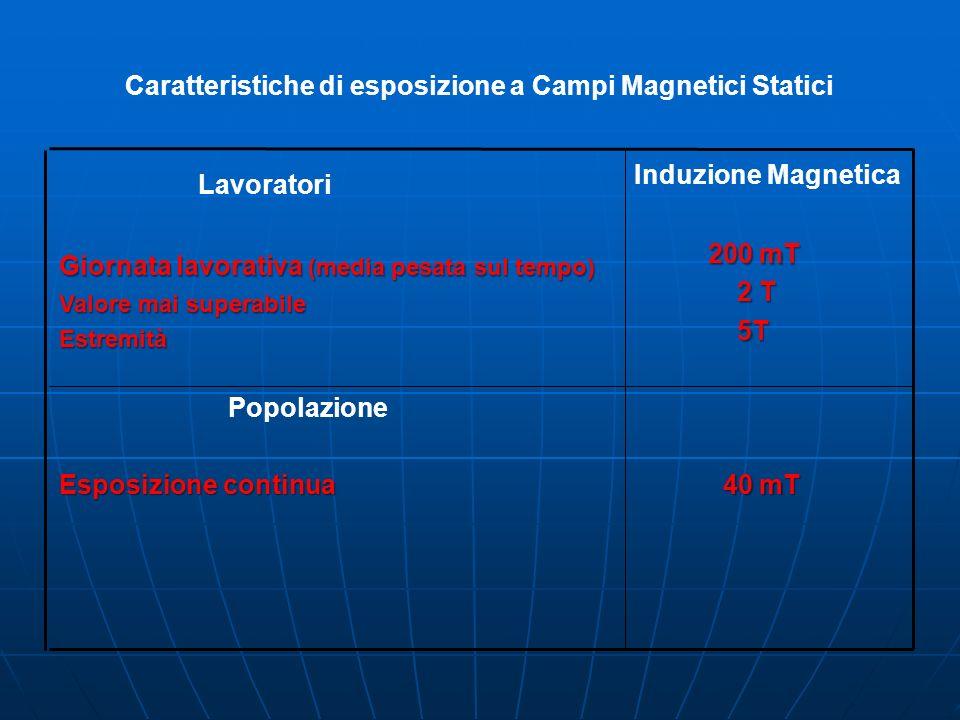 Caratteristiche di esposizione a Campi Magnetici Statici 40 mT Popolazione Esposizione continua Induzione Magnetica 200 mT 2 T 2 T 5T 5T Lavoratori Giornata lavorativa (media pesata sul tempo) Valore mai superabile Estremità