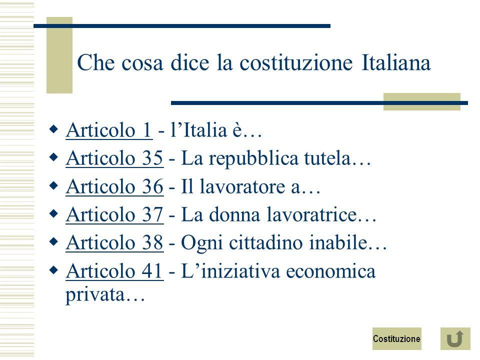 Che cosa dice la costituzione Italiana Articolo 1 - lItalia è… Articolo 1 Articolo 35 - La repubblica tutela… Articolo 35 Articolo 36 - Il lavoratore a… Articolo 36 Articolo 37 - La donna lavoratrice… Articolo 37 Articolo 38 - Ogni cittadino inabile… Articolo 38 Articolo 41 - Liniziativa economica privata… Articolo 41 Costituzione