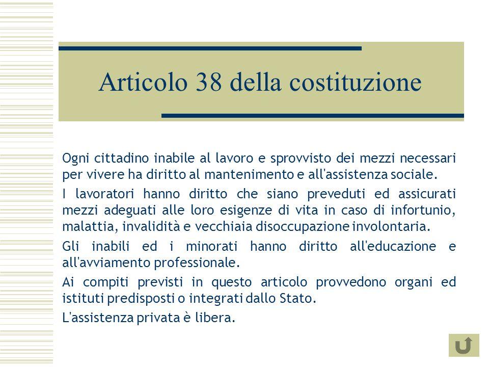 Articolo 38 della costituzione Ogni cittadino inabile al lavoro e sprovvisto dei mezzi necessari per vivere ha diritto al mantenimento e all assistenza sociale.