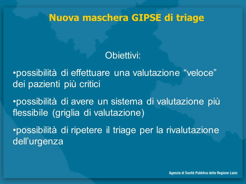 Obiettivi: possibilità di effettuare una valutazione veloce dei pazienti più critici possibilità di avere un sistema di valutazione più flessibile (griglia di valutazione) possibilità di ripetere il triage per la rivalutazione dellurgenza Nuova maschera GIPSE di triage