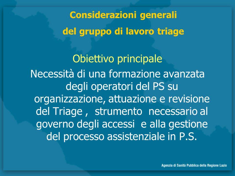 Obiettivo principale Necessità di una formazione avanzata degli operatori del PS su organizzazione, attuazione e revisione del Triage, strumento necessario al governo degli accessi e alla gestione del processo assistenziale in P.S.