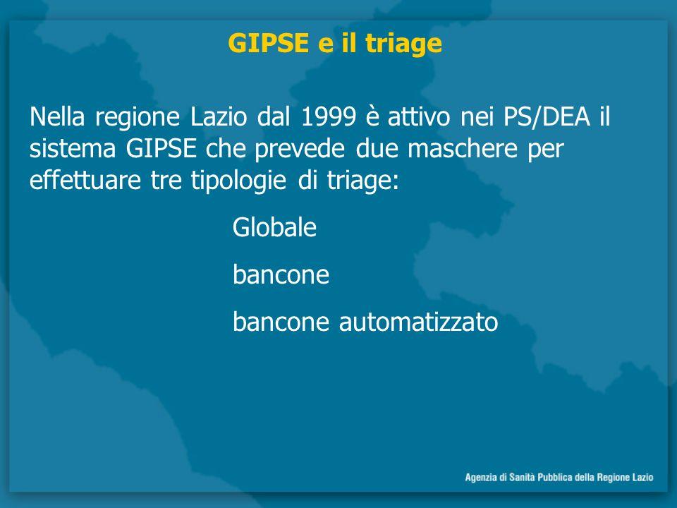 Nella regione Lazio dal 1999 è attivo nei PS/DEA il sistema GIPSE che prevede due maschere per effettuare tre tipologie di triage: Globale bancone bancone automatizzato GIPSE e il triage