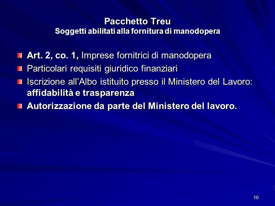 10 Pacchetto Treu Soggetti abilitati alla fornitura di manodopera Art. 2, co. 1, Imprese fornitrici di manodopera Particolari requisiti giuridico fina