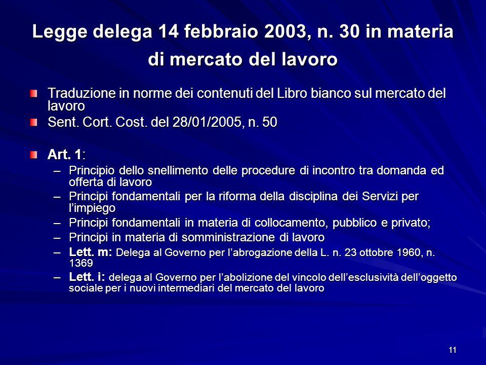 11 Legge delega 14 febbraio 2003, n. 30 in materia di mercato del lavoro Traduzione in norme dei contenuti del Libro bianco sul mercato del lavoro Sen