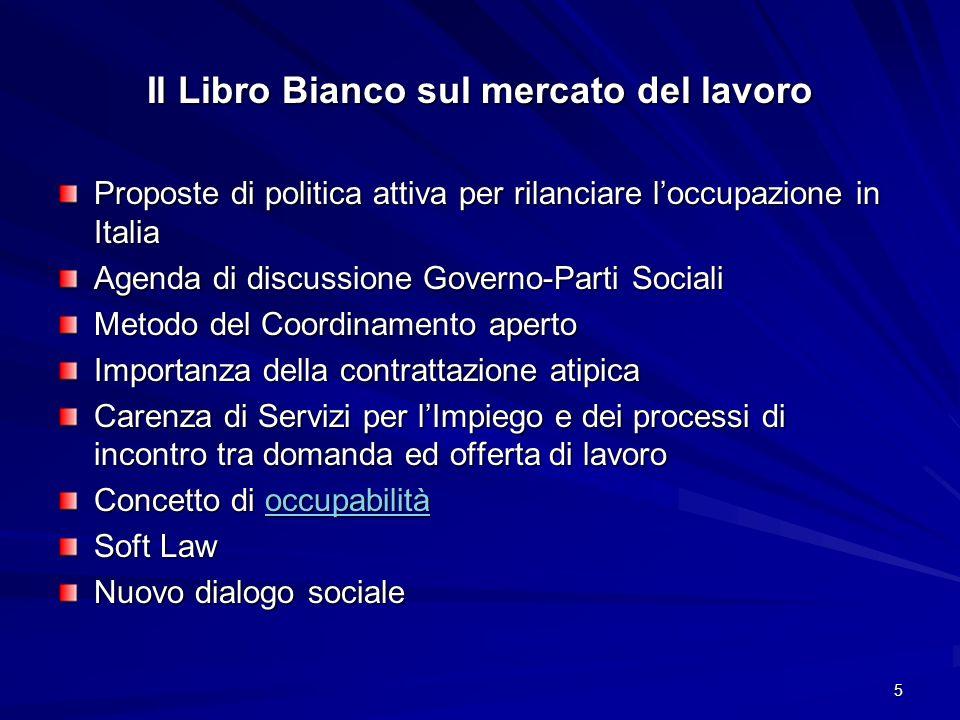 5 Il Libro Bianco sul mercato del lavoro Proposte di politica attiva per rilanciare loccupazione in Italia Agenda di discussione Governo-Parti Sociali