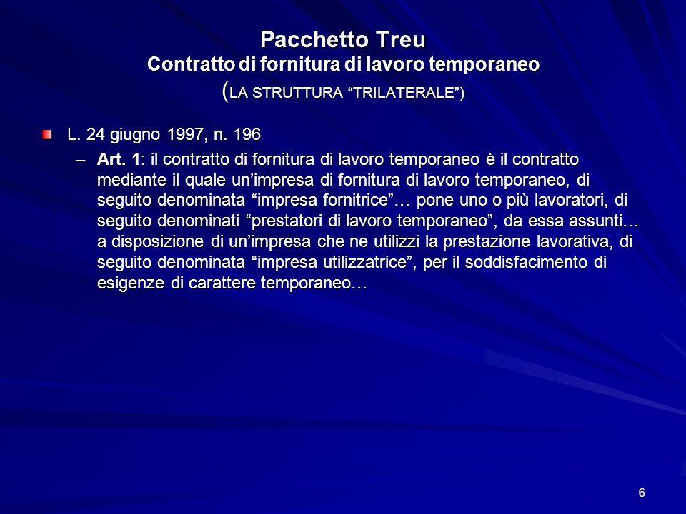 7 Pacchetto Treu Contratto di fornitura di lavoro temporaneo Casi di applicazione 1.