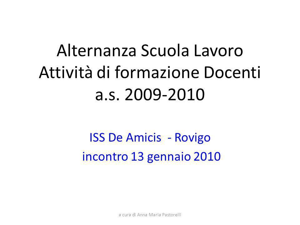 a cura di Anna Maria Pastorelli Alternanza Scuola Lavoro Attività di formazione Docenti a.s. 2009-2010 ISS De Amicis - Rovigo incontro 13 gennaio 2010