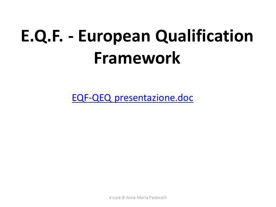 a cura di Anna Maria Pastorelli E.Q.F. - European Qualification Framework EQF-QEQ presentazione.doc