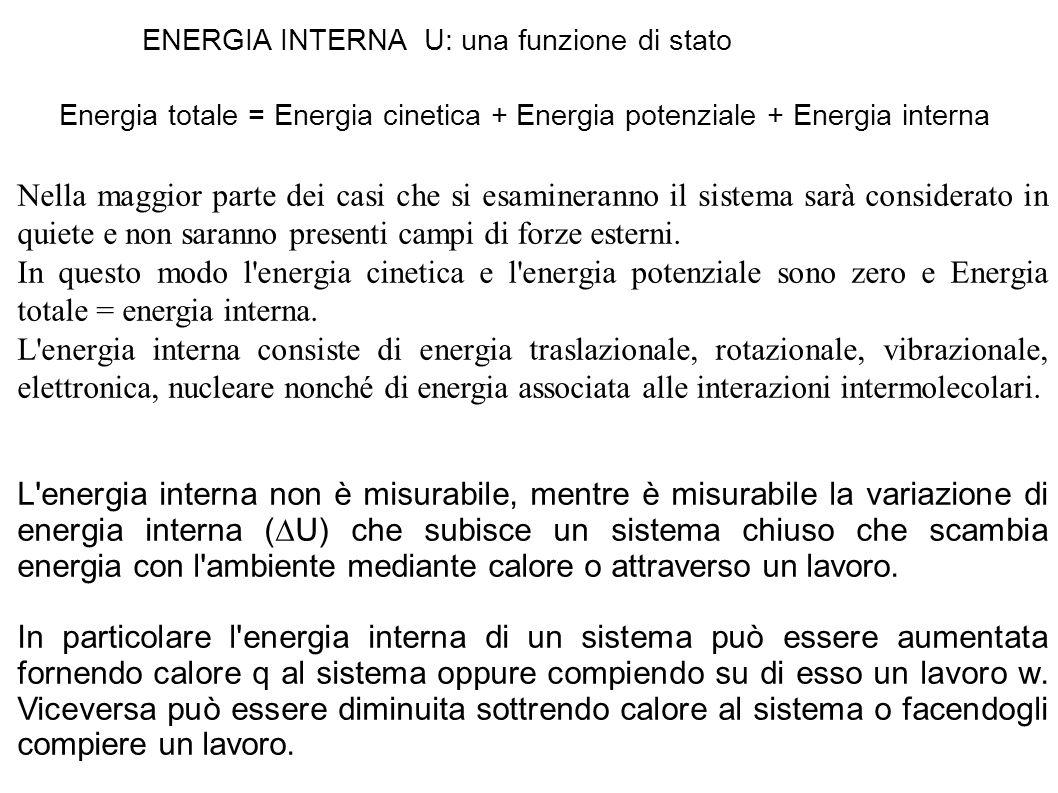 ENERGIA INTERNA U: una funzione di stato Energia totale = Energia cinetica + Energia potenziale + Energia interna Nella maggior parte dei casi che si esamineranno il sistema sarà considerato in quiete e non saranno presenti campi di forze esterni.