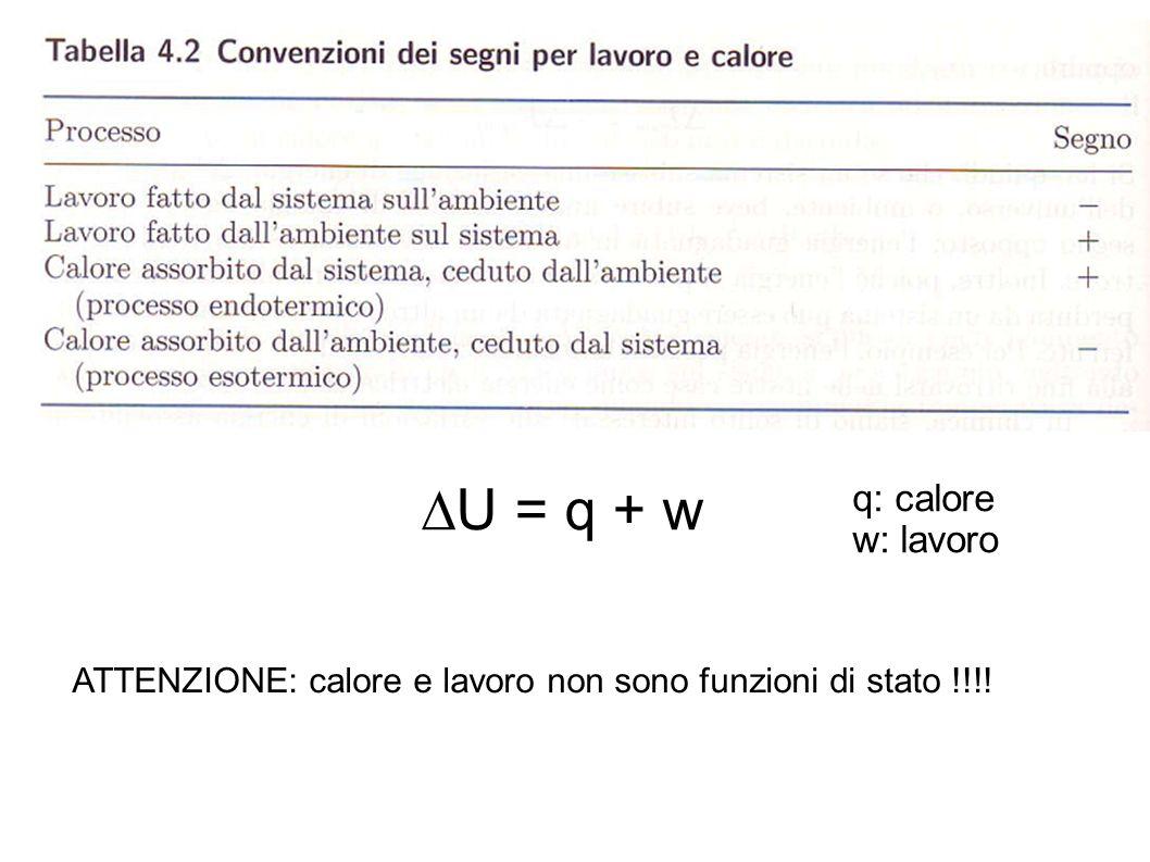 U = q + w q: calore w: lavoro ATTENZIONE: calore e lavoro non sono funzioni di stato !!!!