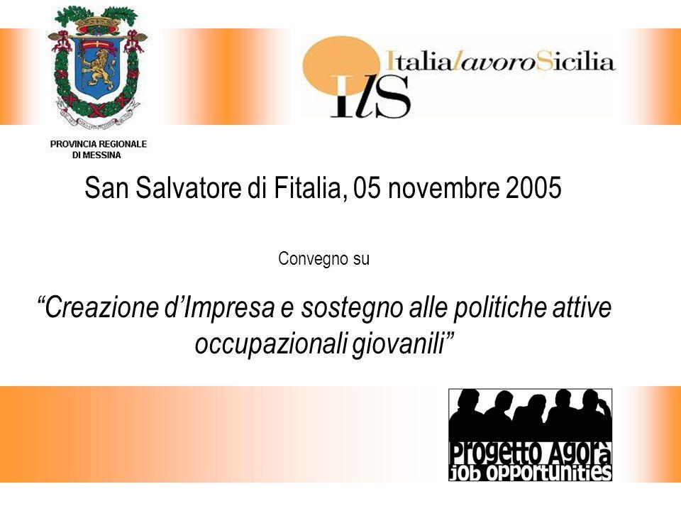 San Salvatore di Fitalia, 05 novembre 2005 Convegno su Creazione dImpresa e sostegno alle politiche attive occupazionali giovanili