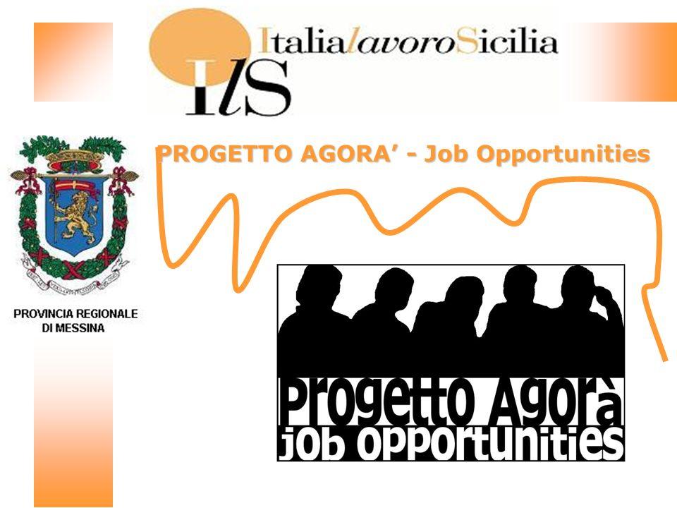 Progetto Agorà – Job Opportunities Progetto di Politiche Attive per il Lavoro La sperimentazione dellinserimento lavorativo PROVINCIA REGIONALE DI MESSINA