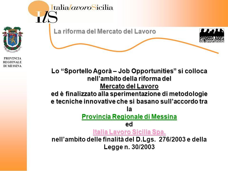 Lo Sportello Agorà – Job Opportunities si colloca nellambito della riforma del Mercato del Lavoro ed è finalizzato alla sperimentazione di metodologie e tecniche innovative che si basano sullaccordo tra la Provincia Regionale di Messina ed Italia Lavoro Sicilia Spa.