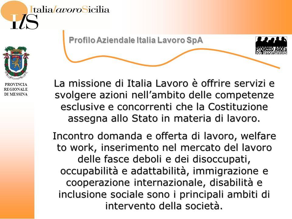 Profilo Aziendale Italia Lavoro SpA PROVINCIA REGIONALE DI MESSINA La missione di Italia Lavoro è offrire servizi e svolgere azioni nellambito delle competenze esclusive e concorrenti che la Costituzione assegna allo Stato in materia di lavoro.