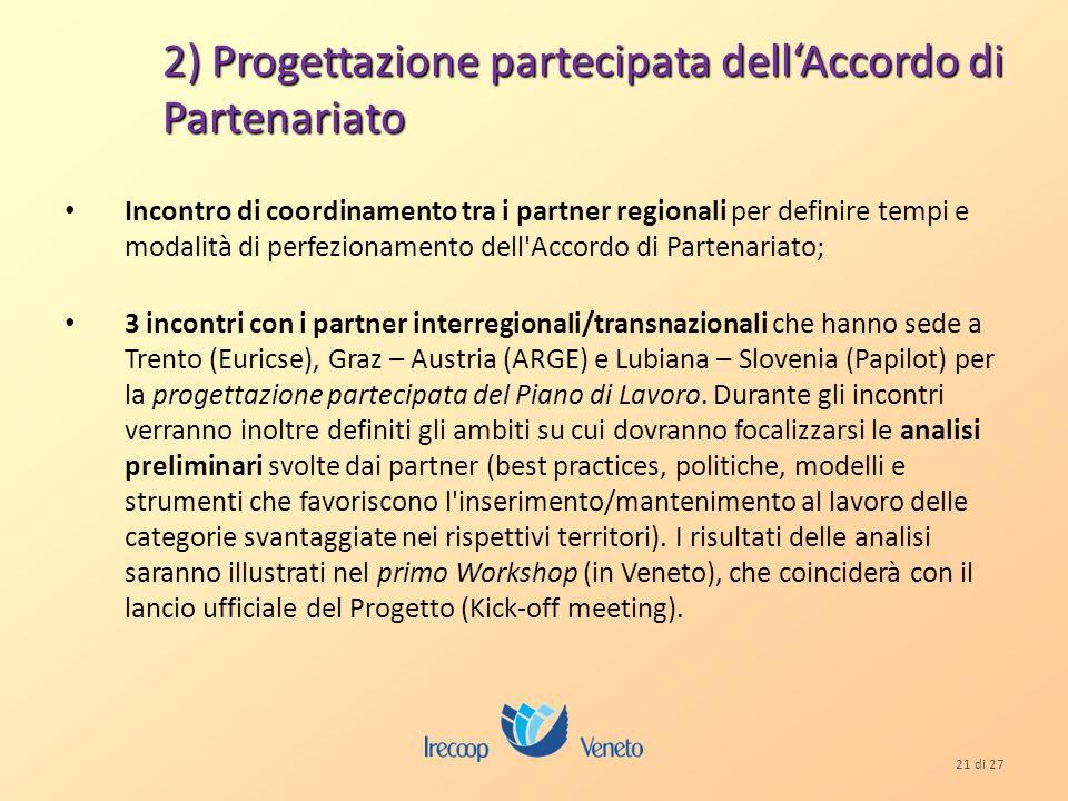 21 di 27 2) Progettazione partecipata dellAccordo di Partenariato Incontro di coordinamento tra i partner regionali per definire tempi e modalità di perfezionamento dell Accordo di Partenariato; 3 incontri con i partner interregionali/transnazionali che hanno sede a Trento (Euricse), Graz – Austria (ARGE) e Lubiana – Slovenia (Papilot) per la progettazione partecipata del Piano di Lavoro.