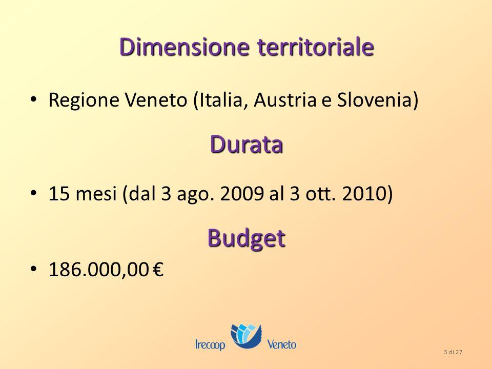 3 di 27 Dimensione territoriale Regione Veneto (Italia, Austria e Slovenia)Durata 15 mesi (dal 3 ago.