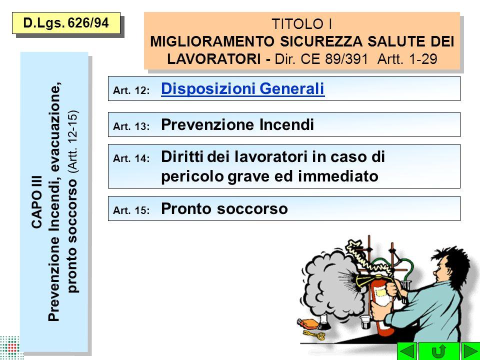 D.Lgs.626/94 Art. 12: Disposizioni Generali Disposizioni Generali Art.