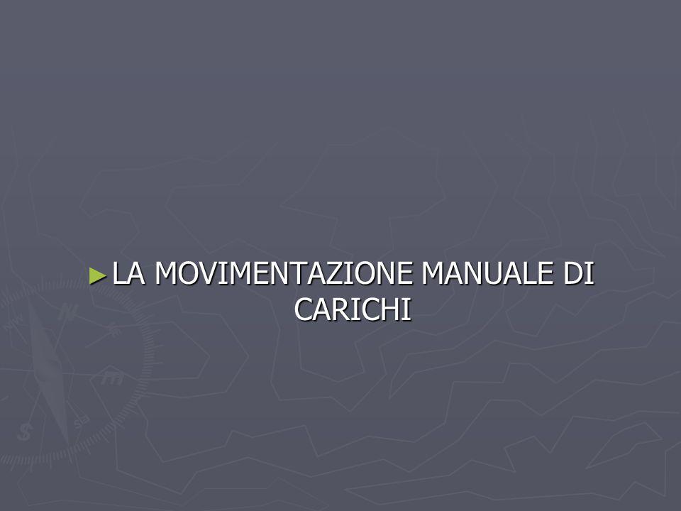 LA MOVIMENTAZIONE MANUALE DI CARICHI LA MOVIMENTAZIONE MANUALE DI CARICHI