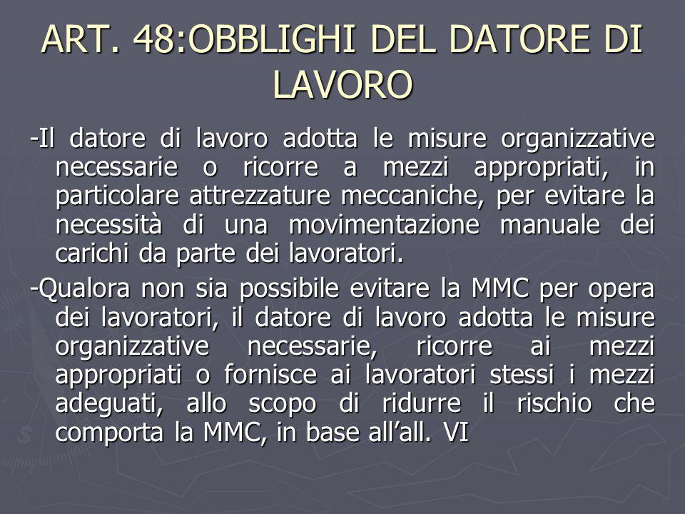 ART. 48:OBBLIGHI DEL DATORE DI LAVORO -Il datore di lavoro adotta le misure organizzative necessarie o ricorre a mezzi appropriati, in particolare att