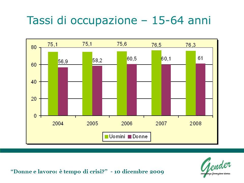 Donne e lavoro: è tempo di crisi? - 10 dicembre 2009 Tassi di occupazione – 15-64 anni