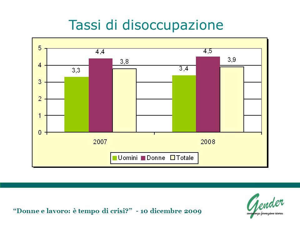 Donne e lavoro: è tempo di crisi? - 10 dicembre 2009 Tassi di disoccupazione