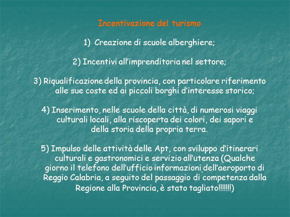 Incentivazione del turismo 1)Creazione di scuole alberghiere; 2) Incentivi allimprenditoria nel settore; 3) Riqualificazione della provincia, con part