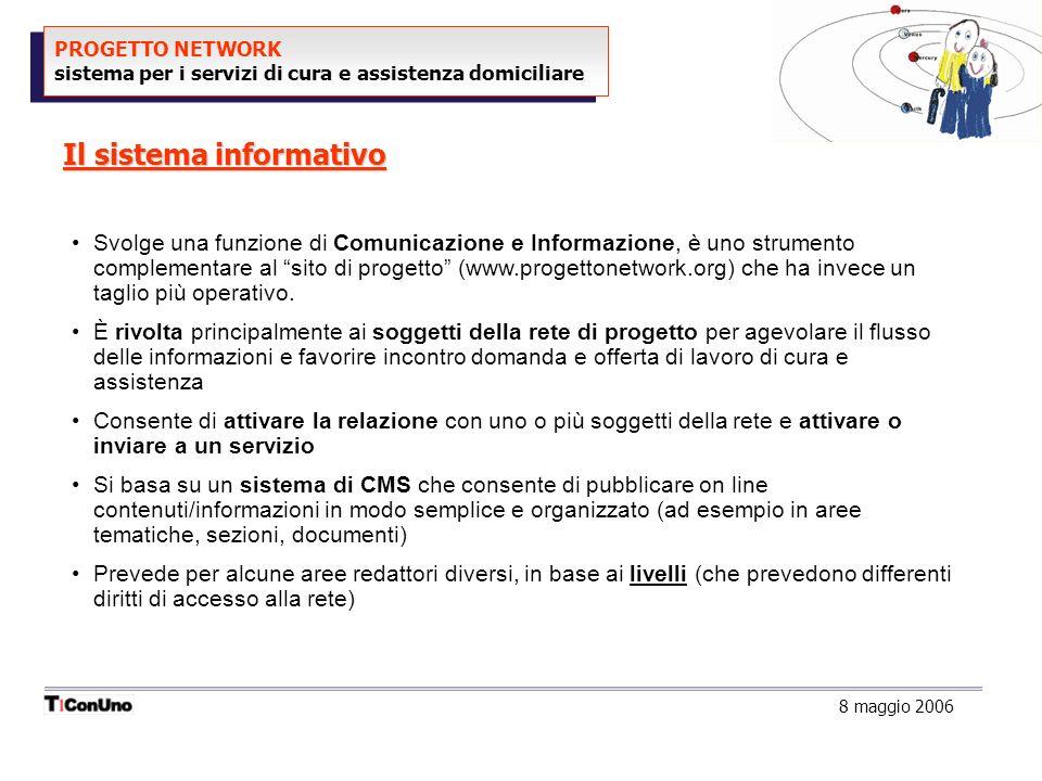 PROGETTO NETWORK sistema per i servizi di cura e assistenza domiciliare Il sistema informativo 8 maggio 2006 Svolge una funzione di Comunicazione e Informazione, è uno strumento complementare al sito di progetto (www.progettonetwork.org) che ha invece un taglio più operativo.